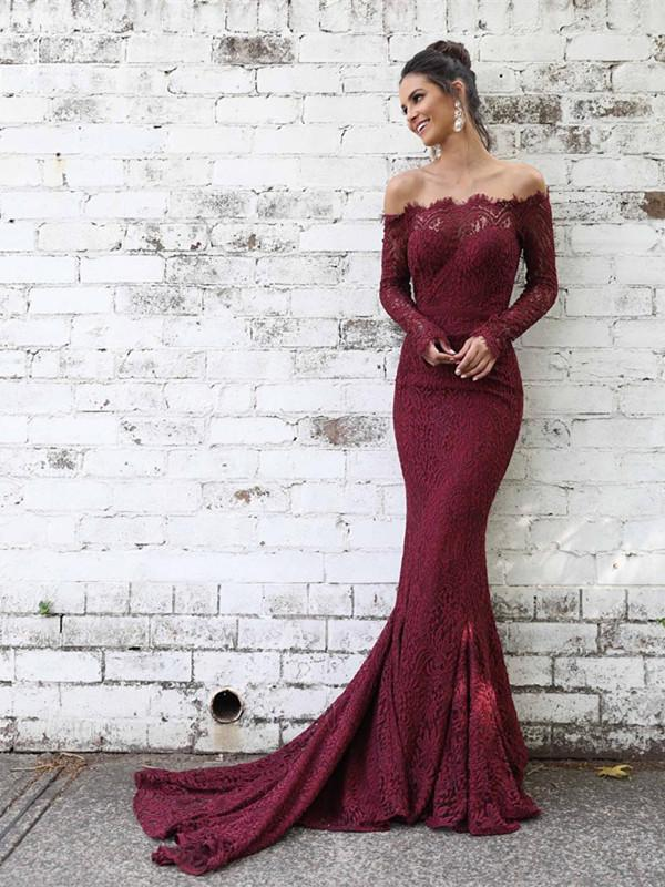 BohoProm prom dresses Exquisite Lace Off-the-shoulder Neckline Long Sleeves Sheath Prom Dresses PD231