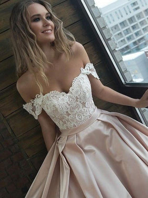 BohoProm prom dresses Exquisite Satin Off-the-shoulder Neckline A-line Prom Dresses With Appliques PD195