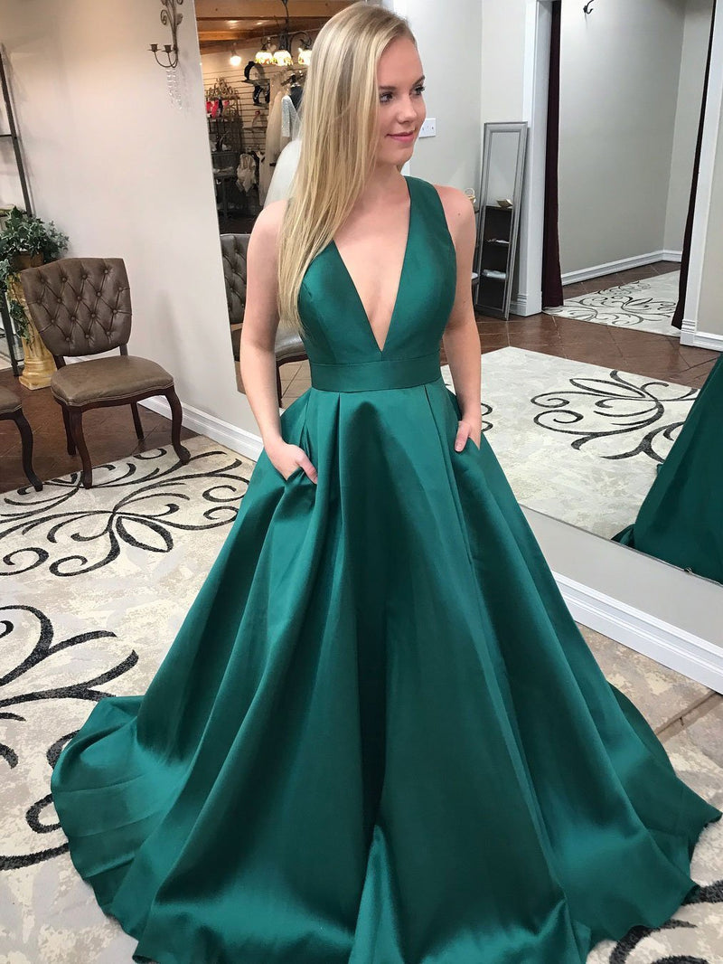 BohoProm prom dresses Exquisite Satin V-neck Neckline Cut-out Chapel Train A-line Prom Dresses With Pockets PD022