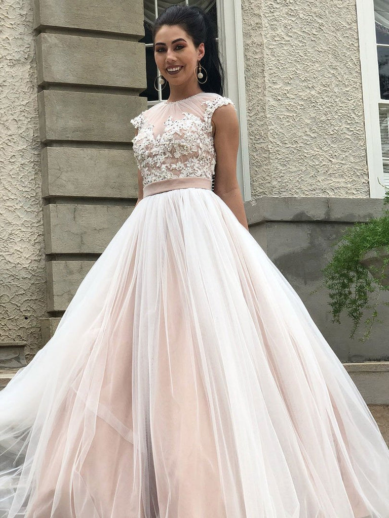 BohoProm prom dresses Exquisite Tulle Jewel Neckline Cap Sleeves Sweep Train A-line Prom Dresses With Beaded Appliques PD028
