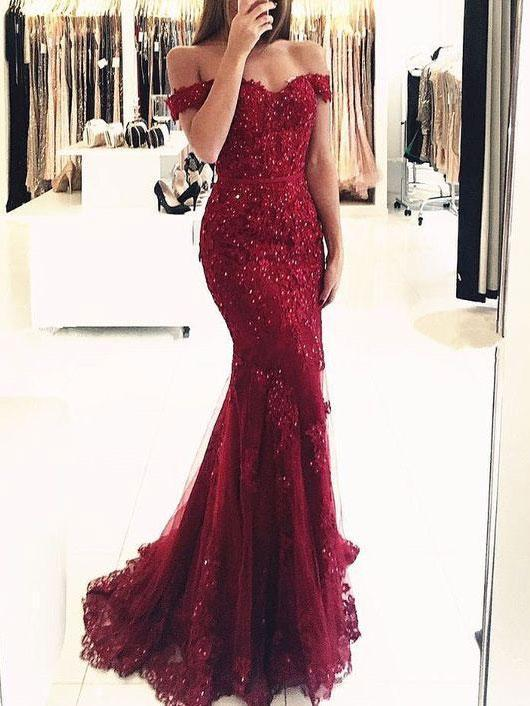 BohoProm prom dresses Exquisite Tulle Off-the-shoulder Neckline Mermaid Prom Dresses With Beaded Appliques PD182