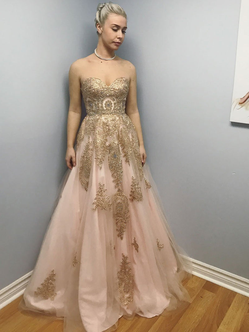 BohoProm prom dresses Exquisite Tulle Sweetheart Neckline A-line Prom Dresses With Beaded Appliques PD079
