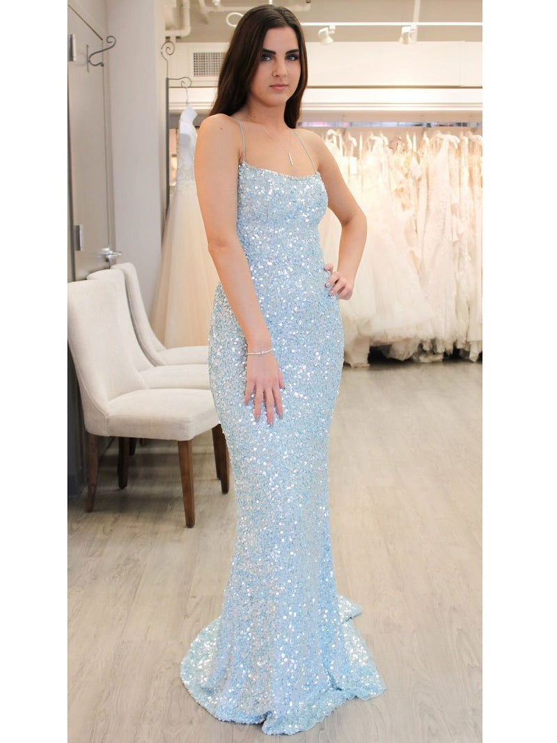 BohoProm prom dresses Eye-catching Sequin Lace Spaghetti Straps Neckline Sheath Prom Dresses PD178