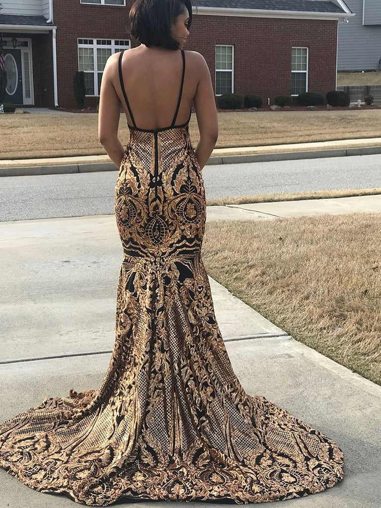 BohoProm prom dresses Eye-catching Sequin Lace V-neck Neckline Mermaid Prom Dress PD107