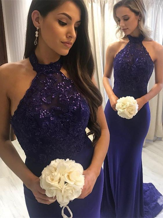 BohoProm prom dresses Eye-catching Spandex Halter Neckline Sheath Prom Dresses With Beaded Appliques PD232