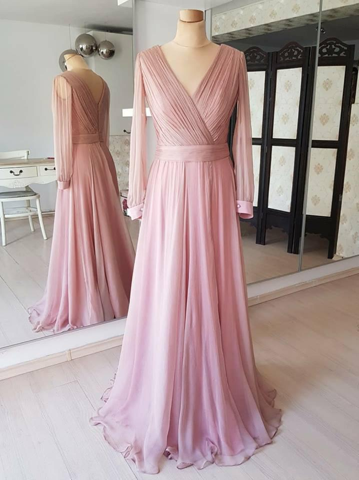 BohoProm prom dresses Fabulous Chiffon V-neck Neckline Long Sleeves A-line Prom Dresses PD217