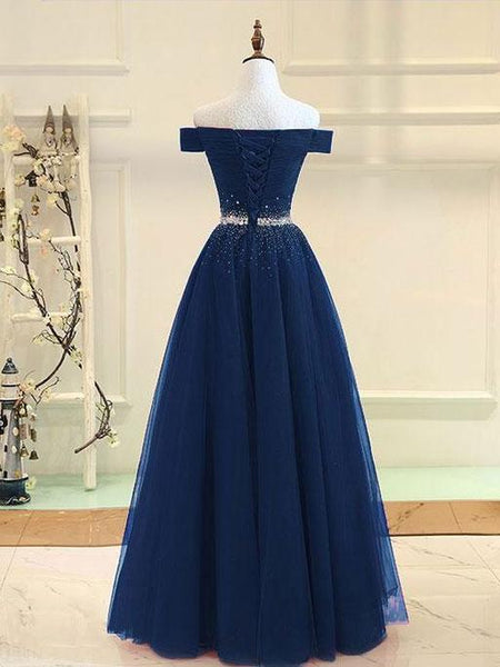 BohoProm prom dresses Fabulous Tulle Off-the-shoulder Neckline Ball Gown Prom Dresses With Rhinestones PD155