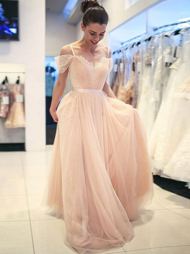 BohoProm prom dresses Fabulous Tulle Spaghetti Straps Neckline Sweep Train A-line Prom Dresses With Appliques PD024
