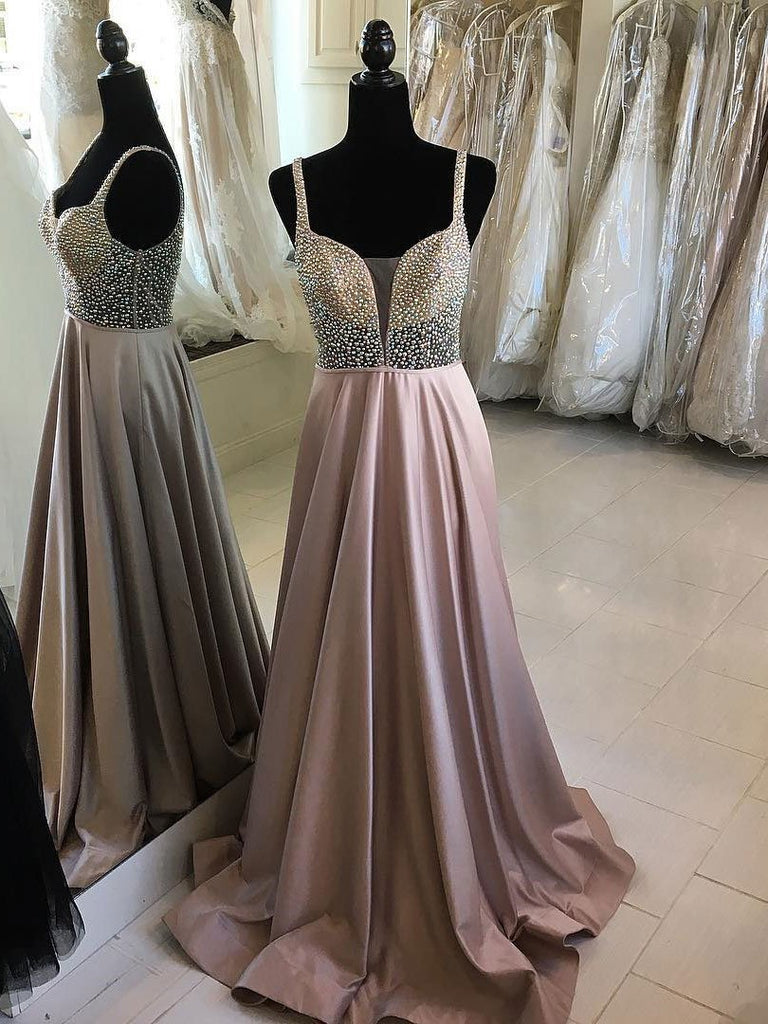 BohoProm prom dresses Fantastic Satin Spaghetti Straps Neckline A-line Prom Dresses With Beadings PD126