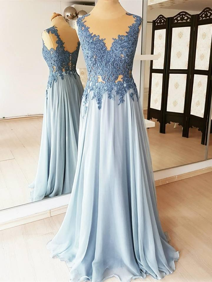 BohoProm prom dresses Fashionable Chiffon Jewel Neckline A-line Prom Dresses With Beaded Appliques PD219