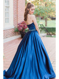 BohoProm prom dresses Fashionable Satin Halter Neckline Ball Gown Prom Dresses With Beadings PD198