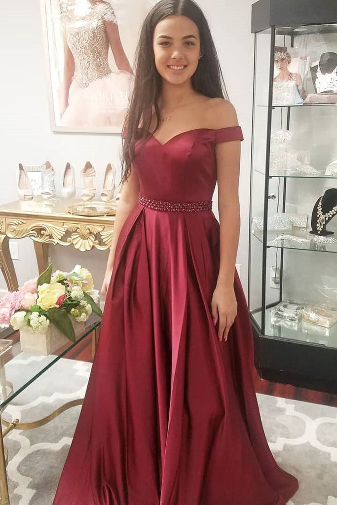 BohoProm prom dresses Fashionable Satin Off-the-shoulder Neckline A-line Prom Dresses With Beadings PD069