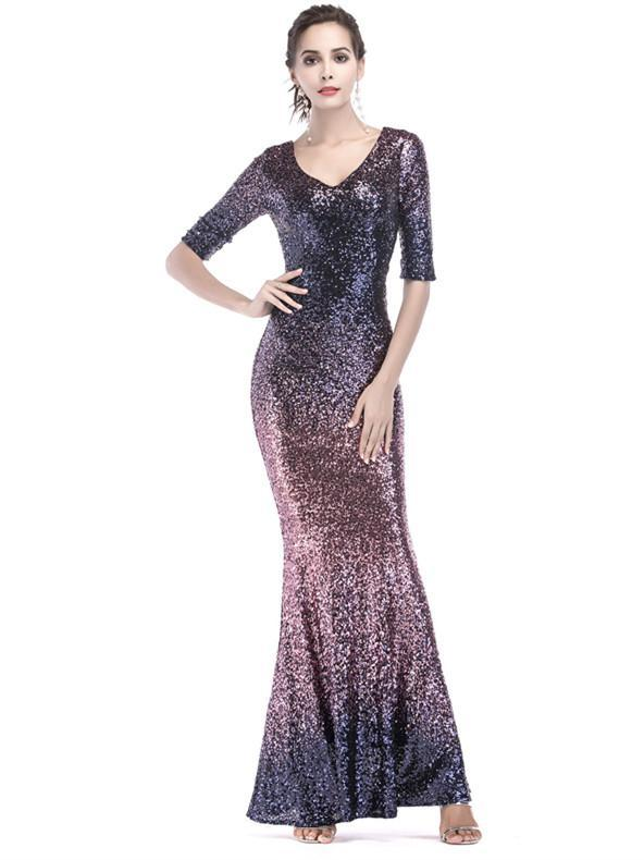 BohoProm prom dresses Fashionable Sequin Lace V-neck Neckline Half Sleeves Mermaid Prom Dress PD209