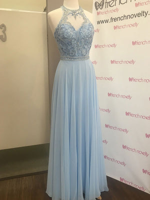BohoProm prom dresses Glamorous Chiffon Jewel Neckline Floor-length A-line Prom Dresses With Beadings PD121