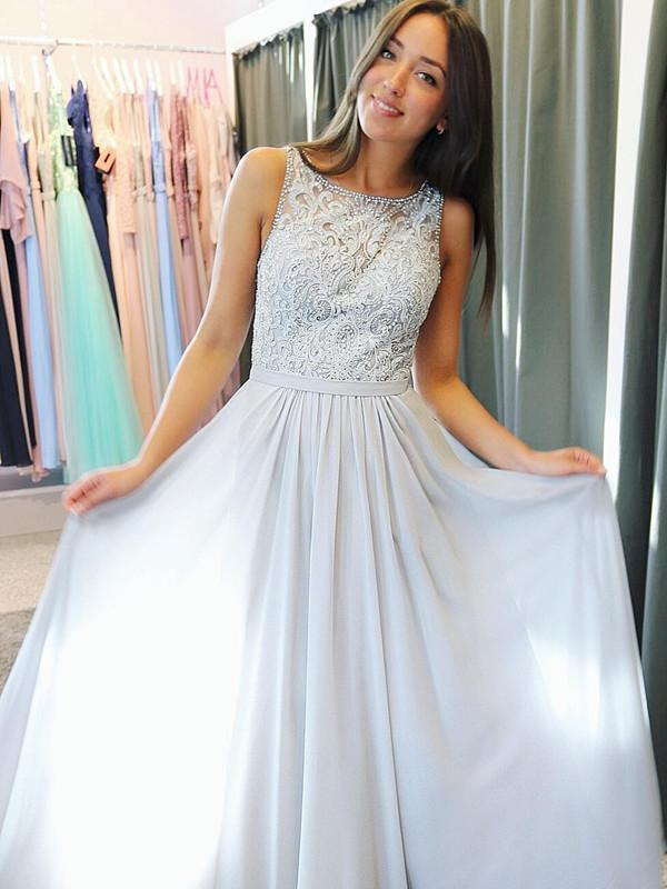 BohoProm prom dresses Glamorous Chiffon Scoop Neckline A-line Prom Dresses With Beaded Appliques PD230