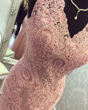 BohoProm prom dresses Glamorous Tulle V-neck Neckline Sheath Prom Dresses With Beaded Appliques PD060