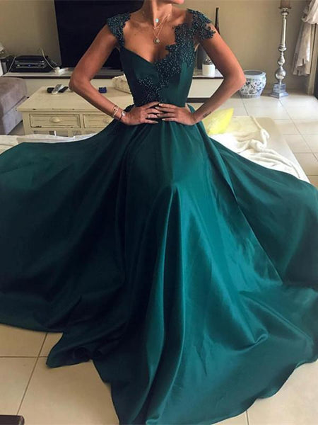 BohoProm prom dresses Gorgeous Satin V-neck Neckline Cap Sleeves A-line Prom Dresses PD226