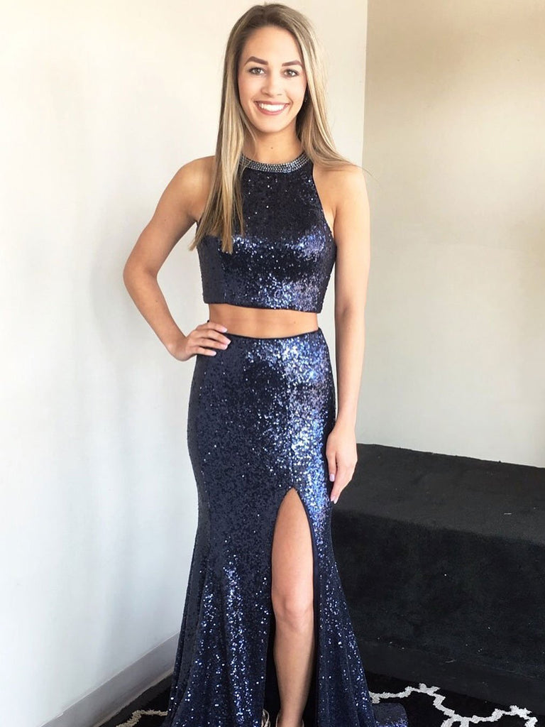 BohoProm prom dresses Gorgeous Sequin Lace Jewel Neckline 2 Pieces Mermaid Prom Dress With Slit PD193