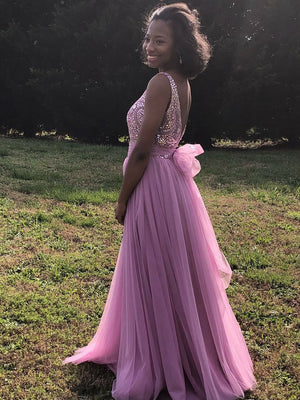 BohoProm prom dresses Gorgeous Tulle Bataeu Neckline A-line Prom Dresses With Rhinestones PD110