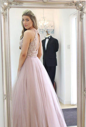 BohoProm prom dresses Gorgeous Tulle Jewel Neckline Floor-length A-line Prom Dresses With Beadings PD086