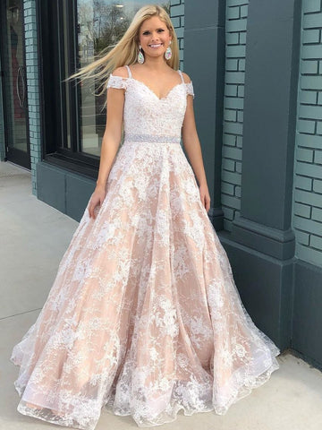 BohoProm prom dresses Gorgeous Tulle Spaghetti Straps Neckline A-line Prom Dresses With Appliques & Beading PD101