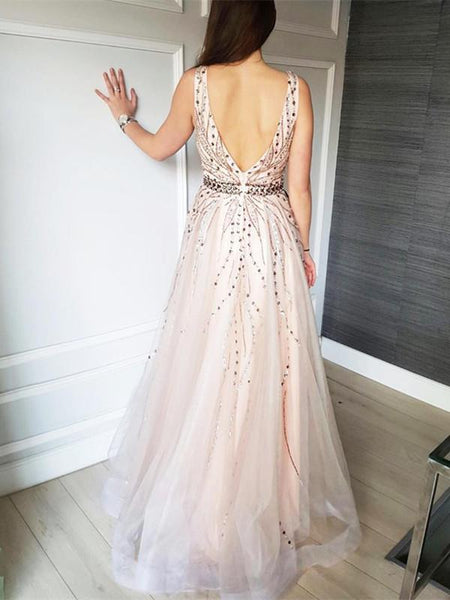BohoProm prom dresses Gorgeous Tulle V-neck Neckline A-line Prom Dresses With Beadings PD235