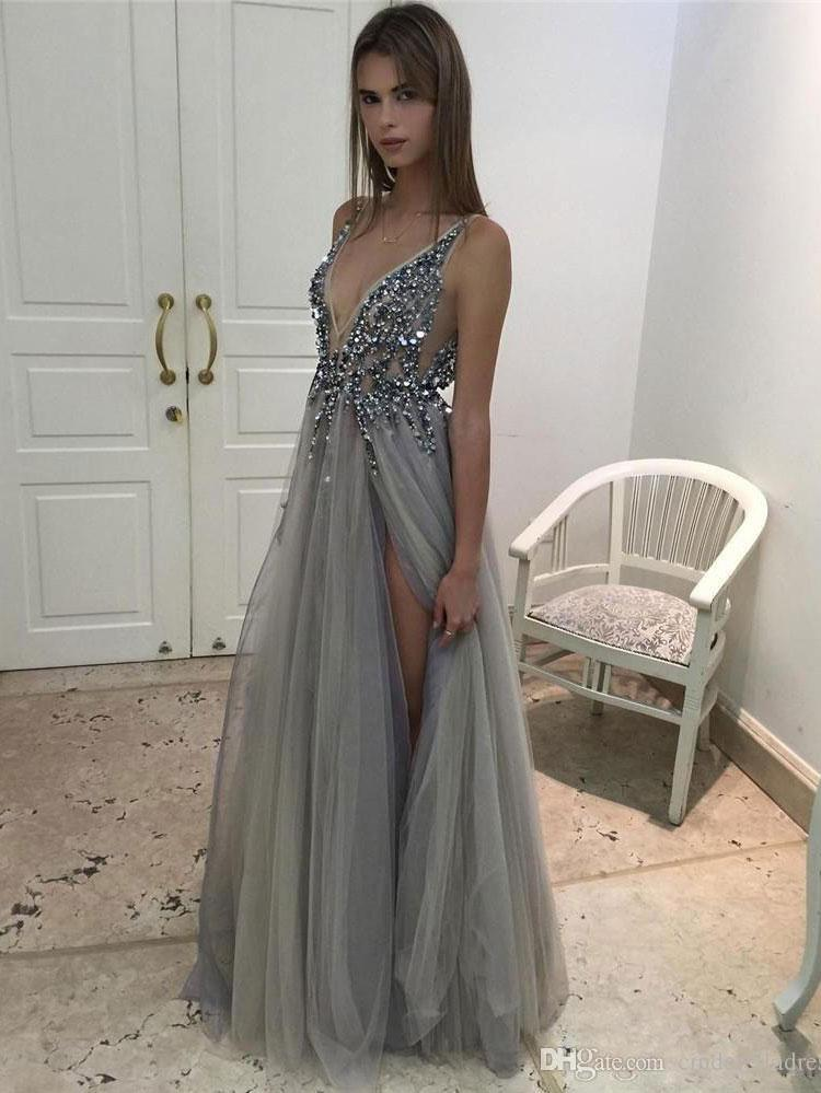 BohoProm prom dresses Gorgeous Tulle V-neck Neckline Floor-length A-line Prom Dresses With Rhinestones PD061