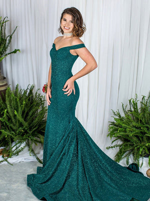 BohoProm prom dresses Graceful Lace Off-the-shoulder Neckline Chapel Train Mermaid Prom Dress PD185