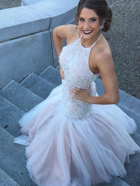 BohoProm prom dresses Graceful Tulle Halter Neckline Chapel Train Mermaid Prom Dresses With Beadings PD054