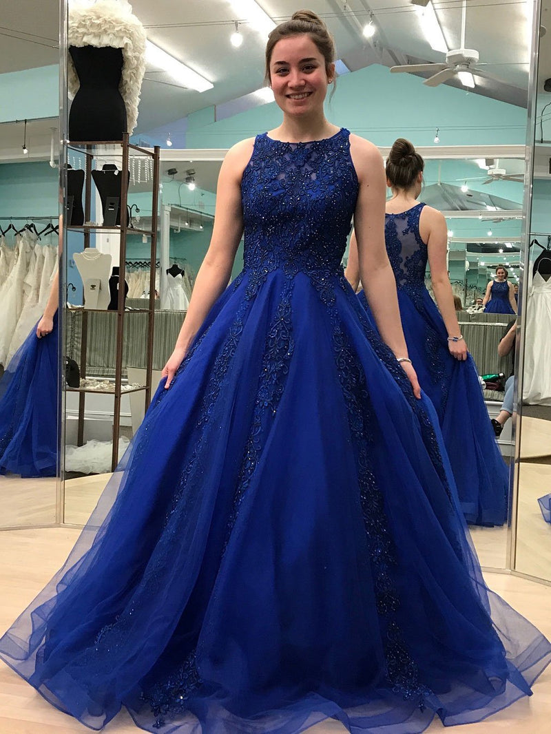 BohoProm prom dresses Graceful Tulle Scoop Neckline A-line Prom Dresses With Beaded Appliques PD117