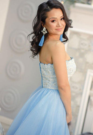 BohoProm prom dresses Graceful Tulle Strapless Neckline Sweep Train A-line Prom Dresses With Beaded Appliques PD042