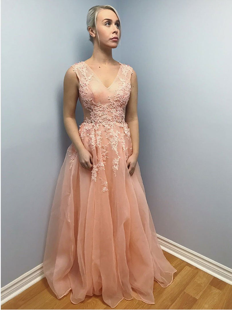 BohoProm prom dresses Graceful Tulle V-neck Neckline Sweep Train A-line Prom Dresses With Appliques PD074