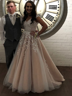 BohoProm prom dresses Junoesque Tulle V-neck Neckline Ball Gown Prom Dresses With Appliques & Beadings PD114