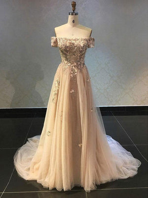 BohoProm prom dresses Luxury Tulle Off-the-shoulder Neckline A-line Prom Dresses With Beaded Appliques PD099