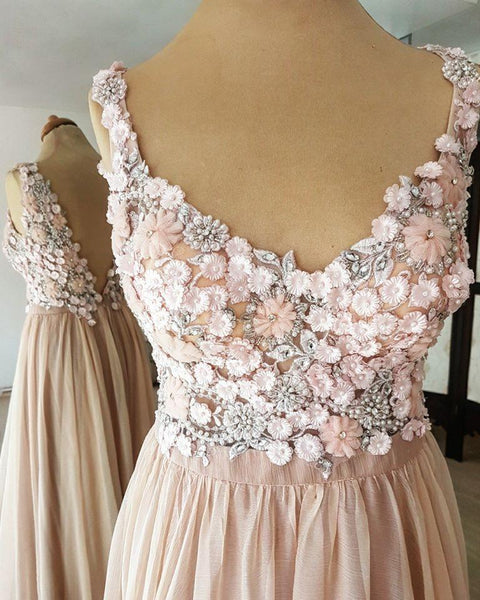 BohoProm prom dresses Marvelous Chiffon V-neck Neckline A-line Prom Dresses With Beaded Appliques PD220