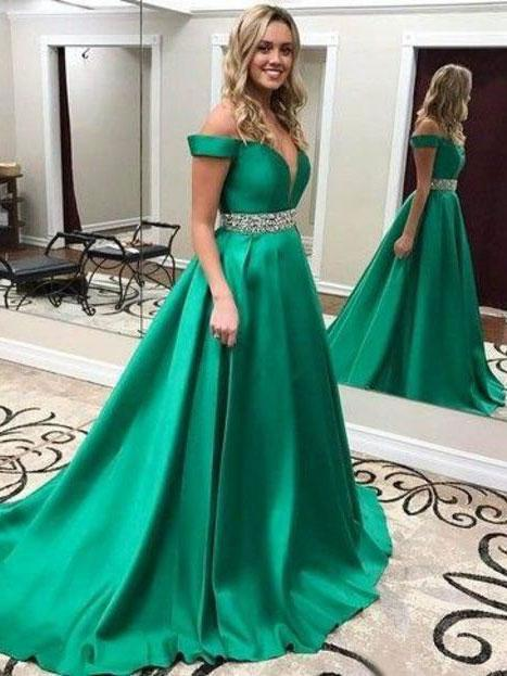 BohoProm prom dresses Marvelous Satin Off-the-shoulder Neckline Chapel Train A-line Prom Dresses With Beadiings PD063