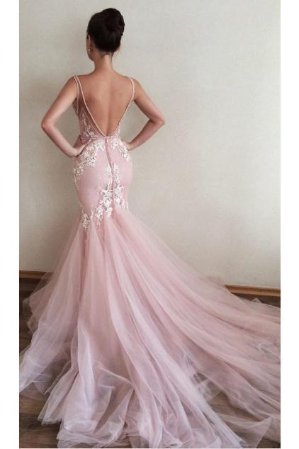 BohoProm prom dresses Mermaid Deep-V Chapel Train Tulle Pink Prom Dresses With Appliques HX00120