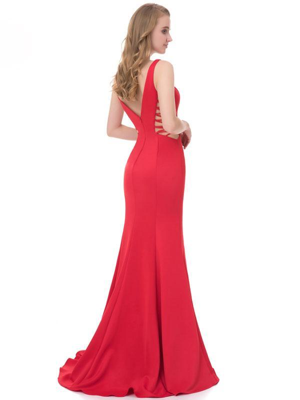 BohoProm prom dresses Mermaid Deep-V Sweep Train Jersey Simple Prom Dress 3118
