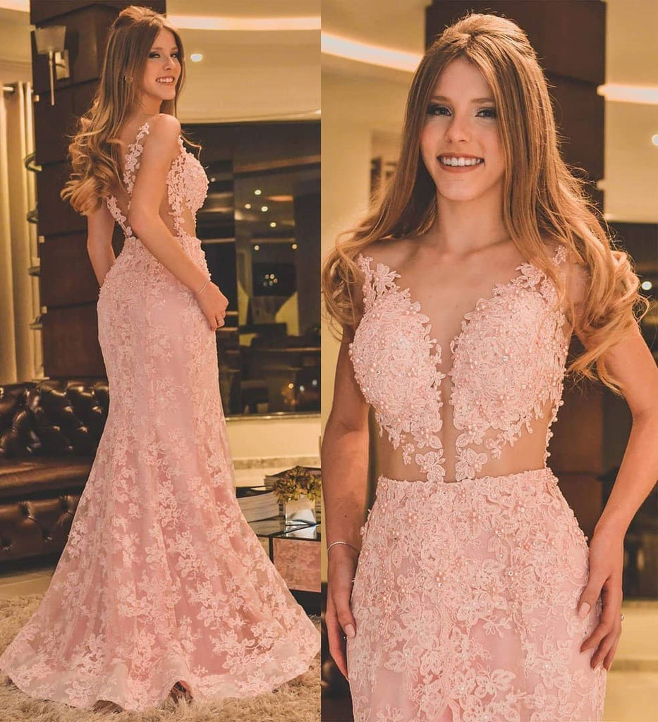 BohoProm prom dresses Mermaid Deep-V Sweep Train Lace Appliqued Beaded Pink Prom Dress 3067