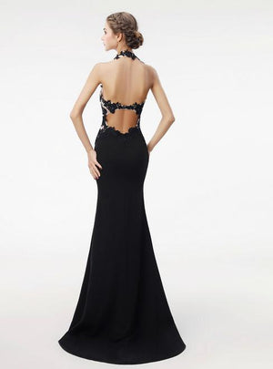 BohoProm prom dresses Mermaid Halter Floor-Length Satin Appliqued Black Prom Dresses HX0026