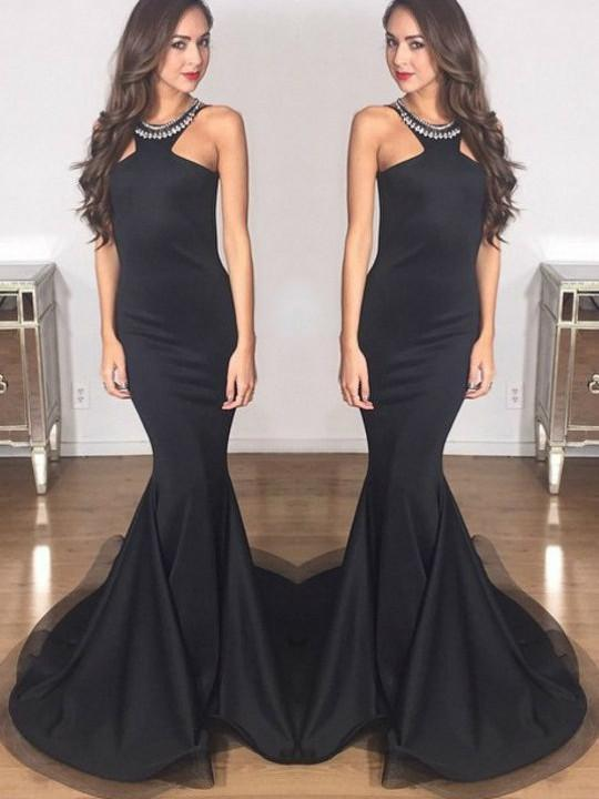 BohoProm prom dresses Mermaid Halter Floor-Length Satin Black Simple Prom Dresses HX0087