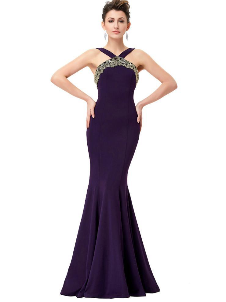 BohoProm prom dresses Mermaid Halter Floor-Length Satin Purple LongProm Dresses HX0078
