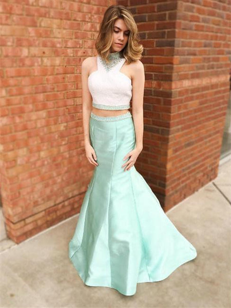 BohoProm prom dresses Mermaid Halter Floor-Length Satin Two Piece Mint Prom Dresses HX0094