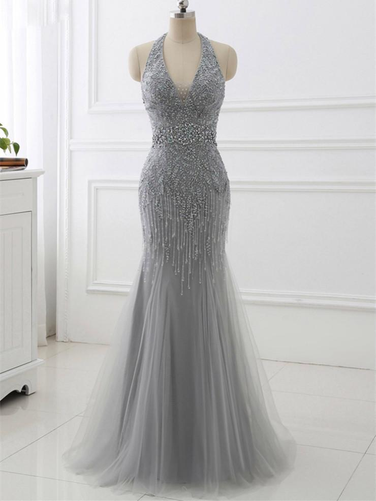 BohoProm prom dresses Mermaid Halter Floor-Length Tulle Gray Prom Dresses With Beading ASD27094