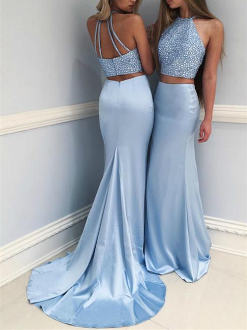 BohoProm prom dresses Mermaid Halter Sweep Train Satin Sky Blue Prom Dresses With Rhine Stones HX0085