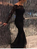 BohoProm prom dresses Mermaid Off-Shoulder Floor-length Lace Black Prom Dresses HX00150