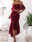 Mermaid Off-Shoulder High-Low Lace Burgundy Prom Dresses ASD27092