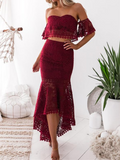BohoProm prom dresses Mermaid Off-Shoulder High-Low Lace Burgundy Prom Dresses ASD27092