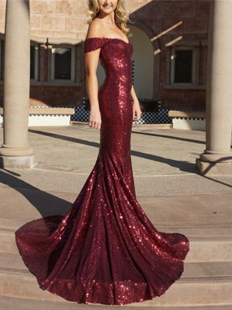 BohoProm prom dresses Mermaid Off-Shoulder Sweep Train Burgundy Prom Dresses With Sequins HX0068