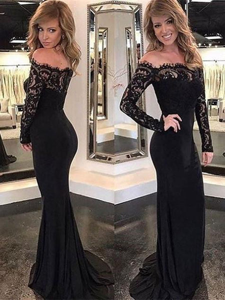 BohoProm prom dresses Mermaid Off-Shoulder Sweep Train Chiffon Appliqued Black Prom Dresses ABC0007